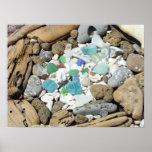 Driftwood mate del vidrio del mar de la playa de l posters