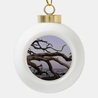 Driftwood Moon Ceramic Ball Christmas Ornament