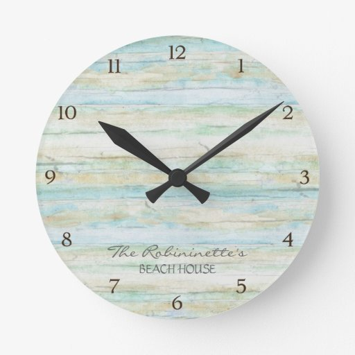 Driftwood Ocean Beach House Coastal Seashore Round Clocks