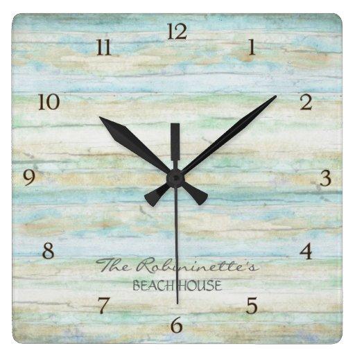 Driftwood Ocean Beach House Coastal Seashore Wall Clocks