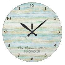 Driftwood Ocean Beach House Coastal Seashore Large Clock