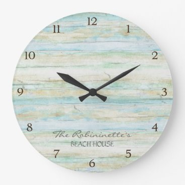AudreyJeanne Driftwood Ocean Beach House Coastal Seashore Large Clock