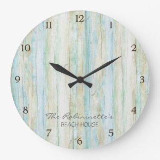Driftwood Ocean Beach House Coastal Seashore Large Clock
