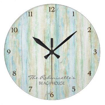 AudreyJeanne Driftwood Ocean Beach House Coastal Seashore Large Clock