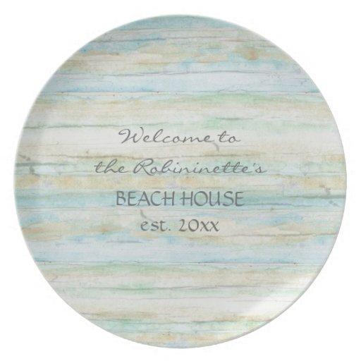 Driftwood Ocean Beach House Coastal Seashore Party Plate