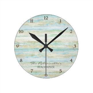 Driftwood Ocean Beach House Coastal Seashore Round Clock