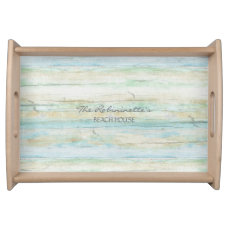 Driftwood Ocean Beach House Coastal Seashore Serving Tray