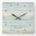 Driftwood Ocean Beach House Coastal Seashore Square Wall Clock