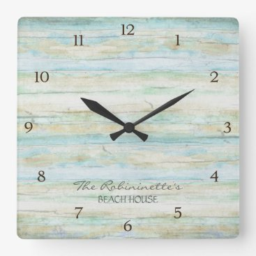 AudreyJeanne Driftwood Ocean Beach House Coastal Seashore Square Wall Clock