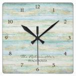 Driftwood Ocean Beach House Coastal Seashore Square Wall Clocks