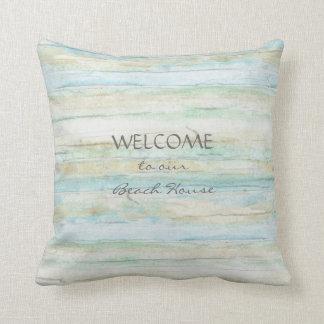 Driftwood Ocean Beach House Coastal Seashore Throw Pillow