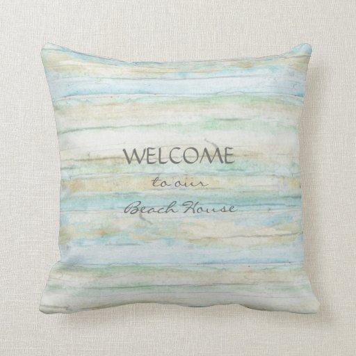 Coastal Beach Throw Pillows : Driftwood Ocean Beach House Coastal Seashore Throw Pillow Zazzle