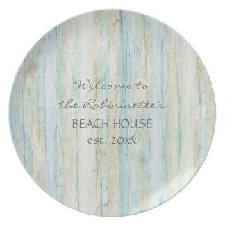 Driftwood Ocean Beach House Coastal Seashoredriftw Melamine Plate
