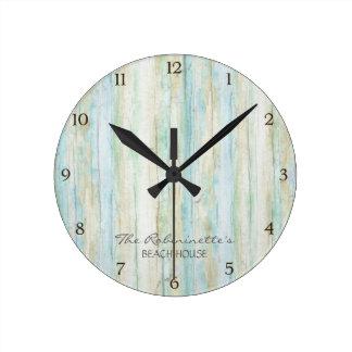 Driftwood Ocean Beach House Coastal Seashoredriftw Round Wall Clock