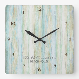 Driftwood Ocean Beach House Coastal Seashoredriftw Square Wall Clock