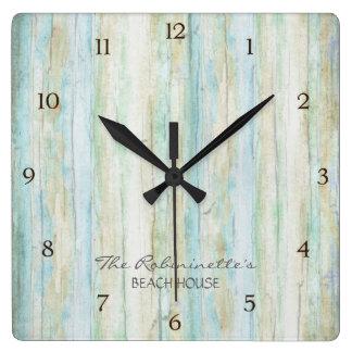 Driftwood Ocean Beach House Coastal Seashoredriftw Square Wall Clocks