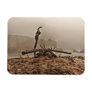 Driftwood on a Foggy Beach 2 Rectangular Magnet