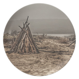 Driftwood on a Foggy Beach Plate