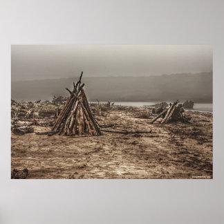 Driftwood on a Foggy Beach Print