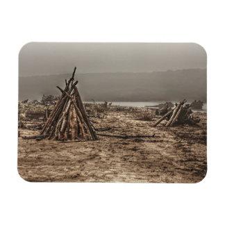 Driftwood on a Foggy Beach Rectangular Magnet
