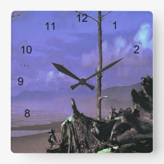 Driftwood on Beach Square Wall Clock