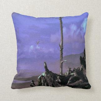 Driftwood on Beach Throw Pillow