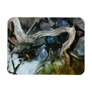 Driftwood on River Rocks Abstract Impressionism Rectangular Photo Magnet
