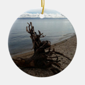 Driftwood on the Beach Double-Sided Ceramic Round Christmas Ornament