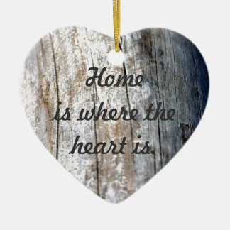 Driftwood Double-Sided Heart Ceramic Christmas Ornament