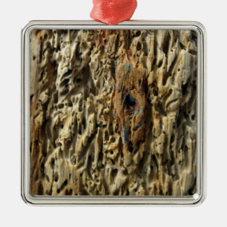 Driftwood Square Metal Christmas Ornament