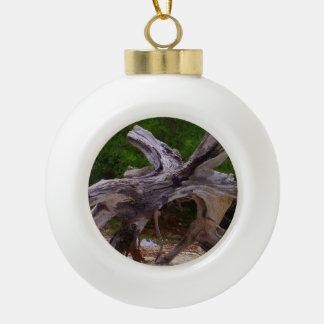 Driftwood Ceramic Ball Christmas Ornament