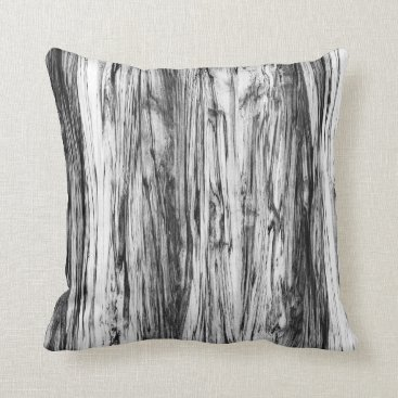 Floridity Driftwood pattern - black, white and grey throw pillow