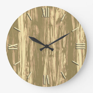 Driftwood pattern - cocoa brown and tan large clock