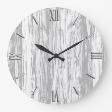 Floridity Driftwood pattern - grey / gray and white large clock