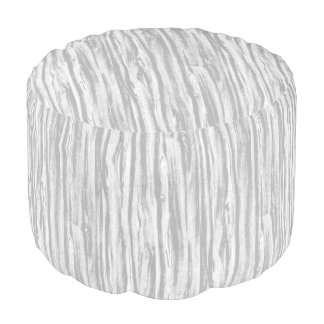 Driftwood pattern - grey / gray and white round pouf