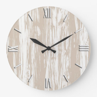 Driftwood pattern - taupe tan and white large clock