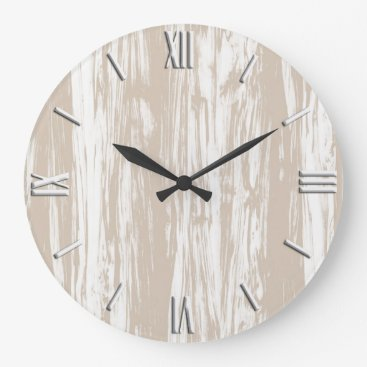 Floridity Driftwood pattern - taupe tan and white large clock