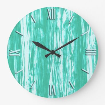 Floridity Driftwood pattern - turquoise and white large clock