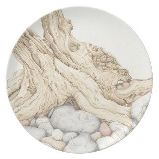 Driftwood & Pebbles in Pencil Melamine Plate