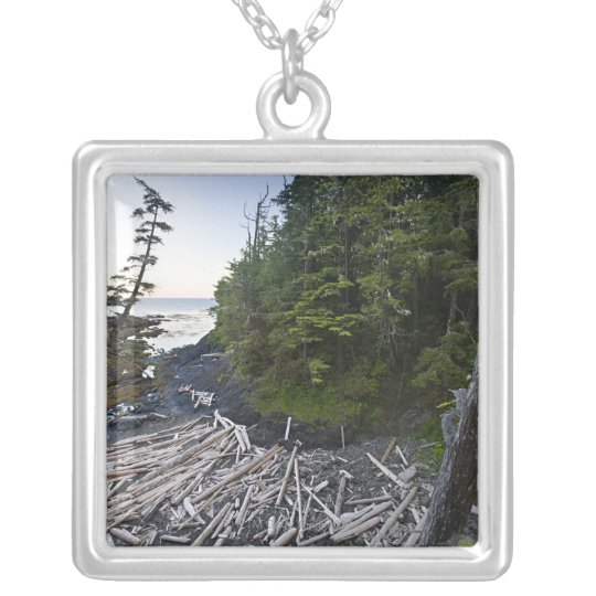 Driftwood piled up on a small secluded beach silver plated necklace