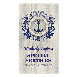 Driftwood rústico del ancla náutica de la marina tarjetas de visita