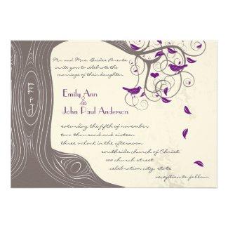 Driftwood Tree Purple Birds Wedding Invitations