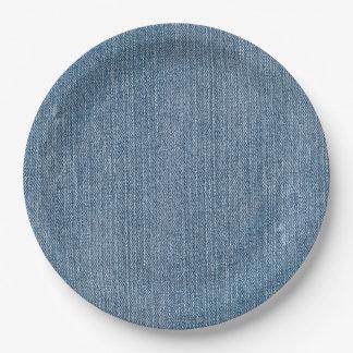 Dril de algodón azul de Jean Plato De Papel De 9 Pulgadas