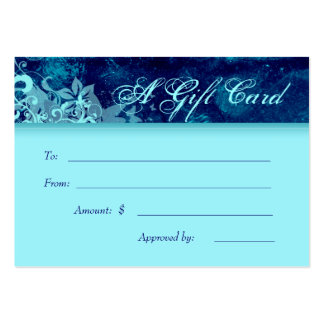Dril de algodón azul floral del Grunge del balnear Tarjetas De Visita