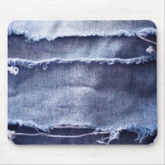 Dril de algodón azul rasgado viejo tapete de ratones