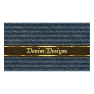 Dril de algodón azul y líneas sombreadas oro tarjetas de visita