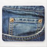 Dril de algodón - bolsillo azul de Jean Alfombrillas De Raton
