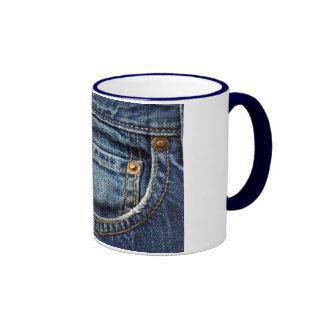 Dril de algodón - bolsillo azul de Jean Tazas De Café