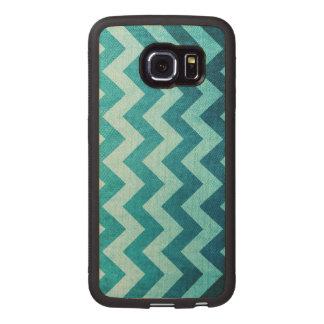 Dril de algodón Chevron Funda De Madera Para Samsung Galaxy S6 Edge