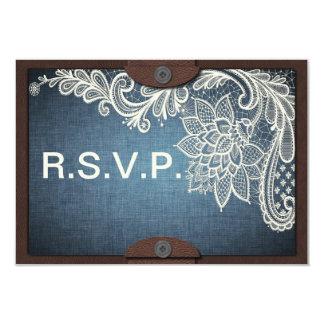 Dril de algodón, cordón y cuero rústicos casando invitación 8,9 x 12,7 cm